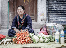 Sidewalk market in Leh, India Royalty Free Stock Image