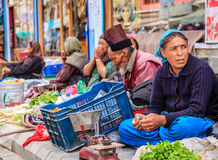 Sidewalk market in Leh, India Royalty Free Stock Images