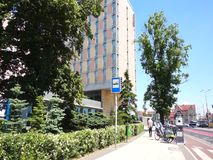 Sidewalk and Mercure Hotel building. stock video footage