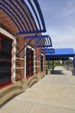 Sidewalk by a modern school Royalty Free Stock Photo