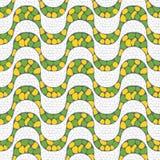Sidewalk mosaic, Rio de Janeiro, Brazil. Yellow and green seamless pattern of Copacabana beach sidewalk mosaic, Rio de Janeiro, Brazil Royalty Free Stock Images