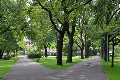 Sidewalk. Parks at the Center of Riga royalty free stock photo