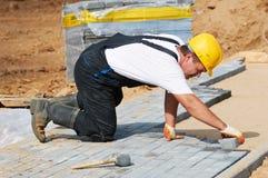 Sidewalk pavement construction works Royalty Free Stock Photo