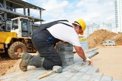Sidewalk pavement construction works Stock Photos