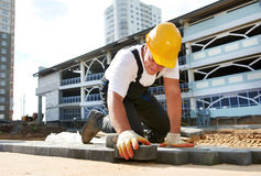 Sidewalk pavement construction works Stock Image