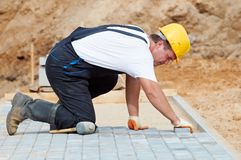 Sidewalk pavement construction works Royalty Free Stock Image