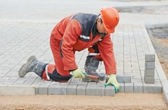 Sidewalk pavement construction works Royalty Free Stock Photos