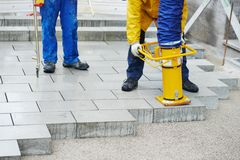 Sidewalk pavement construction works Royalty Free Stock Photography