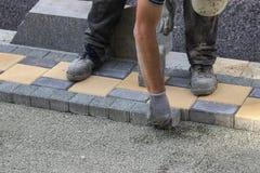 Sidewalk paver installation in progress 3 Royalty Free Stock Photography