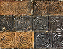 Sidewalk pavers with concentric circles Royalty Free Stock Photo