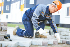 Sidewalk pedestrian pavement construction works Royalty Free Stock Photography
