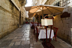 Sidewalk restaurants, Dubrovnik Royalty Free Stock Photo