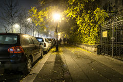Sidewalk road at the night in dormitory in Budapest, Hungary Stock Image
