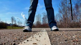 Sidewalk, Road, Stand, Feet Royalty Free Stock Photography