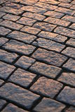 Sidewalk stones. Structure of the stones on Prague sidewalk Stock Photos