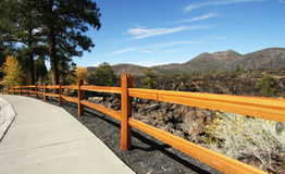 A Sidewalk at Sunset Crater Stock Photos