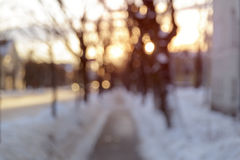 Sidewalk in town blurred photo Royalty Free Stock Photography