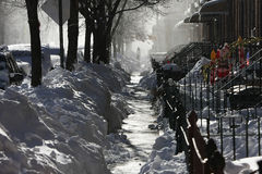 Sidewalk under snow Royalty Free Stock Photography