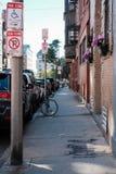 Sidewalk view of downtown Boston, MA, seen during autumn. stock photos