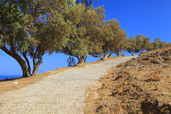 Sidewalk at village Panormo at Crete, Greece Royalty Free Stock Images