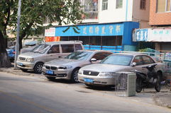 Sidewalks jammed with cars, in Shenzhen Royalty Free Stock Image
