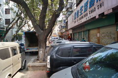 Sidewalks jammed with cars, in Shenzhen Stock Photography