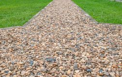 Sidewalks paved with gravel. stock photo