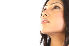 Sidewards face of indian woman Stock Photo