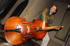Sideways Double Bass Player. Of Fishtank Ensemble Jamming a Tune Live in Concert Stock Photos