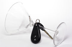 Sideways Martini Glass with Keys Royalty Free Stock Photography
