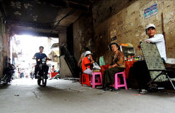 Sideways of the way. People by the alleyway in phnom penh Stock Photo