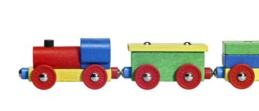 Sideways wooden toy train Royalty Free Stock Photos