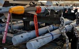 Sidewinder för flygvapen AIM-9 och missiler för AMRAAM AIM-120 Fotografering för Bildbyråer