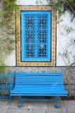 Sidi Bou Said bench and window Stock Image