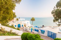 Sidi Bou Said, famouse village with traditional tunisian architecture. stock photo