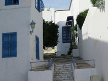Sidi Bou Said, famouse village with traditional tunisian architecture royalty free stock photos