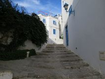 Sidi Bou Said, famouse village with traditional tunisian architecture stock photography
