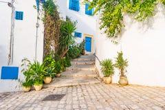 Sidi Bou Said, famouse village with traditional tunisian architecture. Stock Photos