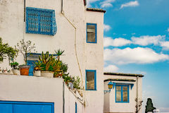 Sidi Bou Said, famouse village with traditional tunisian architecture. Royalty Free Stock Photo
