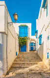 Sidi Bou Said, famouse village with traditional tunisian architecture. Royalty Free Stock Images