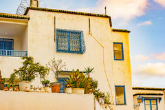 Sidi Bou Said, famouse village with traditional tunisian architecture. Royalty Free Stock Image