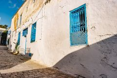 Sidi Bou Said, famouse village with traditional tunisian architecture. Royalty Free Stock Photos
