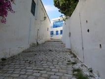 Sidi Bou Said, famouseby med traditionell tunisian arkitektur fotografering för bildbyråer