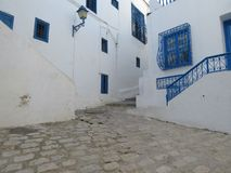 Sidi Bou Said, famouseby med traditionell tunisian arkitektur arkivbilder