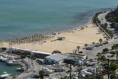 Sidi Bou Said marina and beach Stock Images