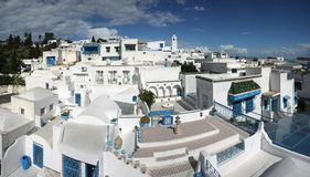 Sidi Bou Said panorama. A view of Sidi Bou Said,Tunisia. Sidi Bou Said is a town in northern Tunisia known for the use of blue and white in it's architecture Royalty Free Stock Photo