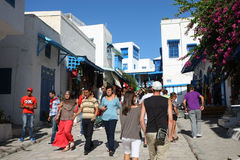 Sidi Bou Said tourists Royalty Free Stock Photography