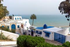 Lanscape of Sidi Bou Said with Mediterranean Sea in the Background, Tunisia. SIDI BOU SAID, TUNISIA- APRIL 3: Beautiful view of the waterfront in Sidi Bou Said stock photo