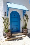Sidi Bou Said - typical building with white walls, blue doors an. D cactus, Tunisia Royalty Free Stock Images