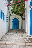 Sidi Bou Said - typical building with white walls, blue doors an Royalty Free Stock Images